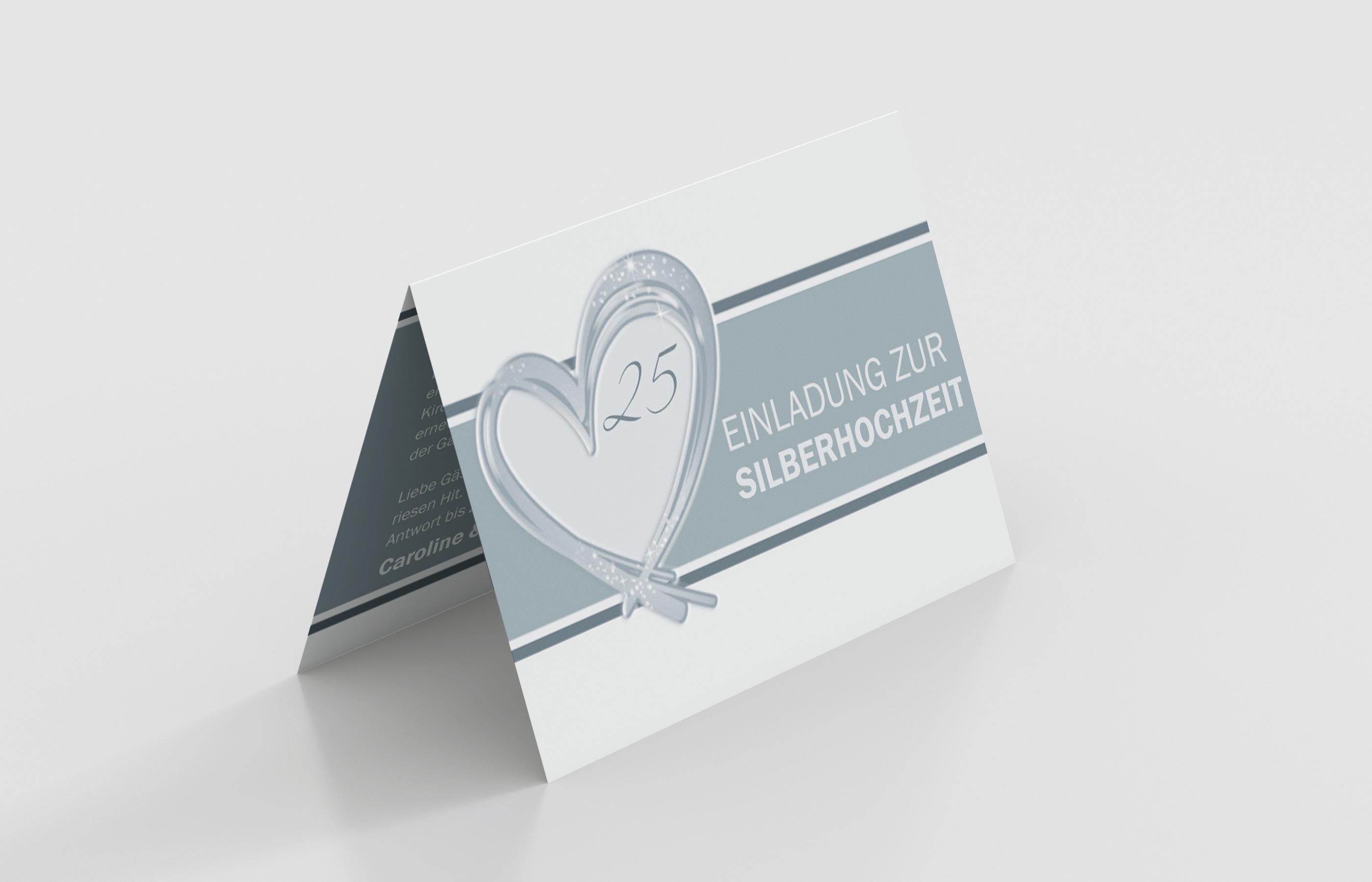 Einladungskarte Silberhochzeit Glänzendes Herz