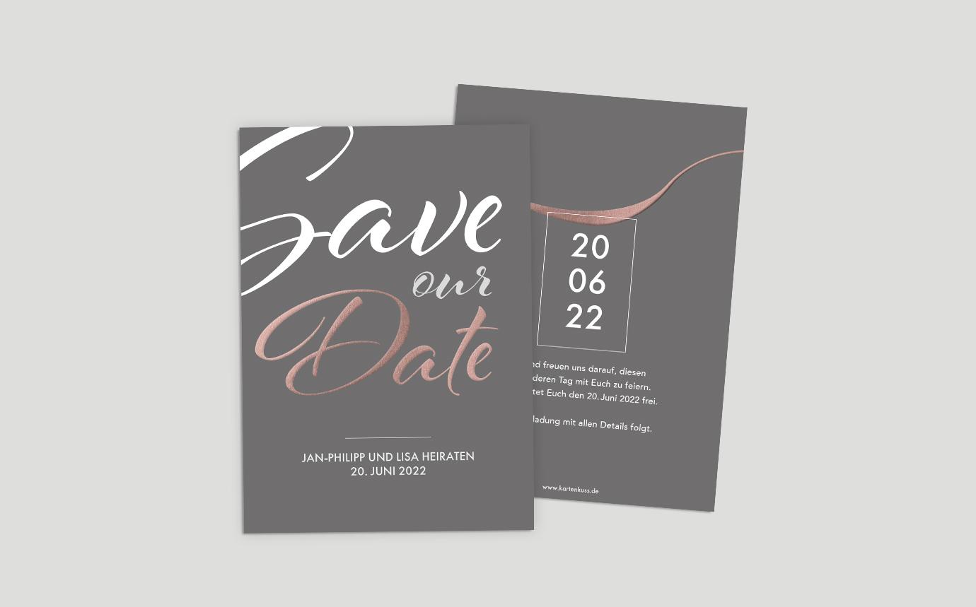Save the Date Karte Hochzeit Metallic