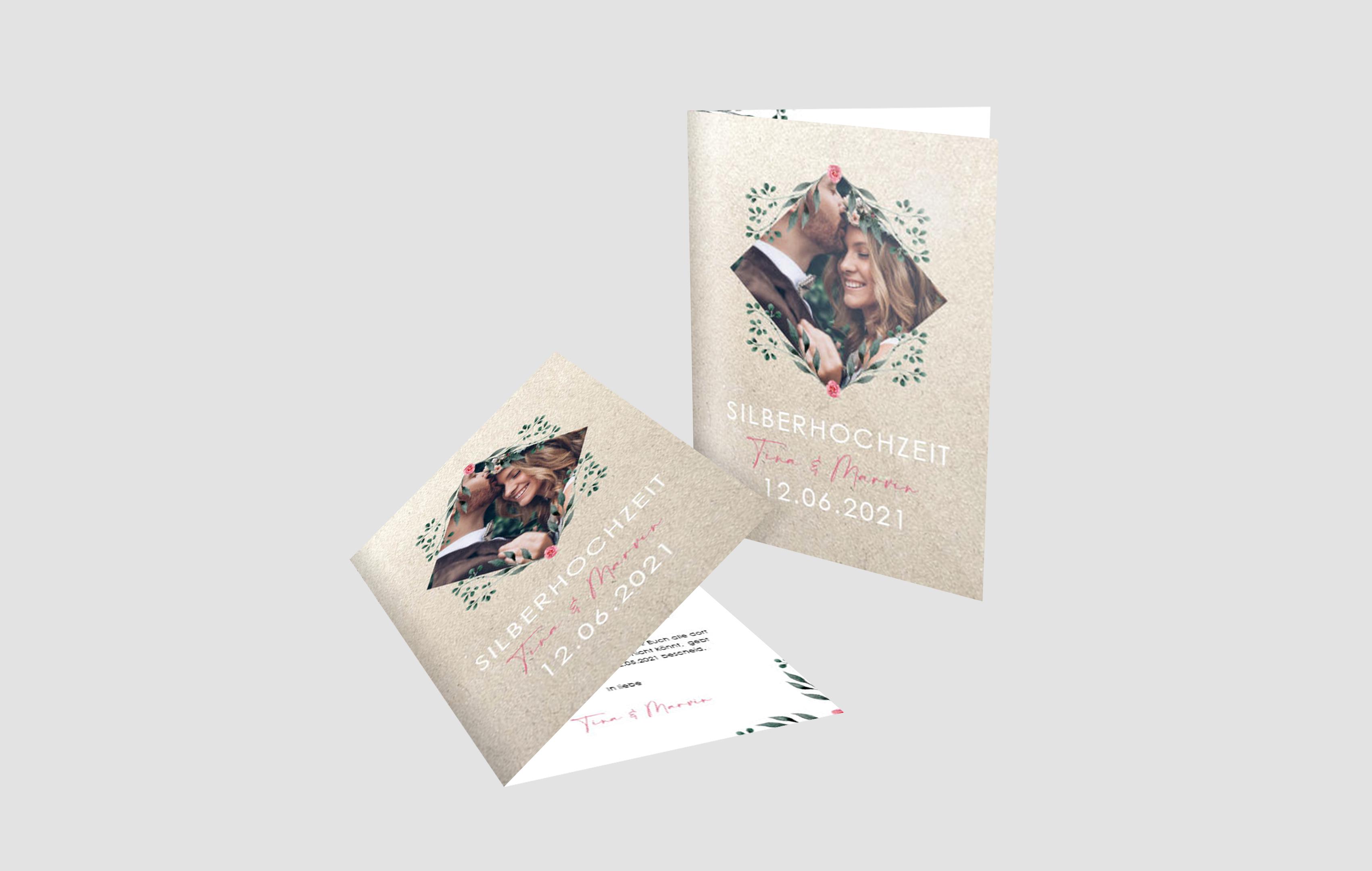 Einladungskarte Silberhochzeit Blütentraum