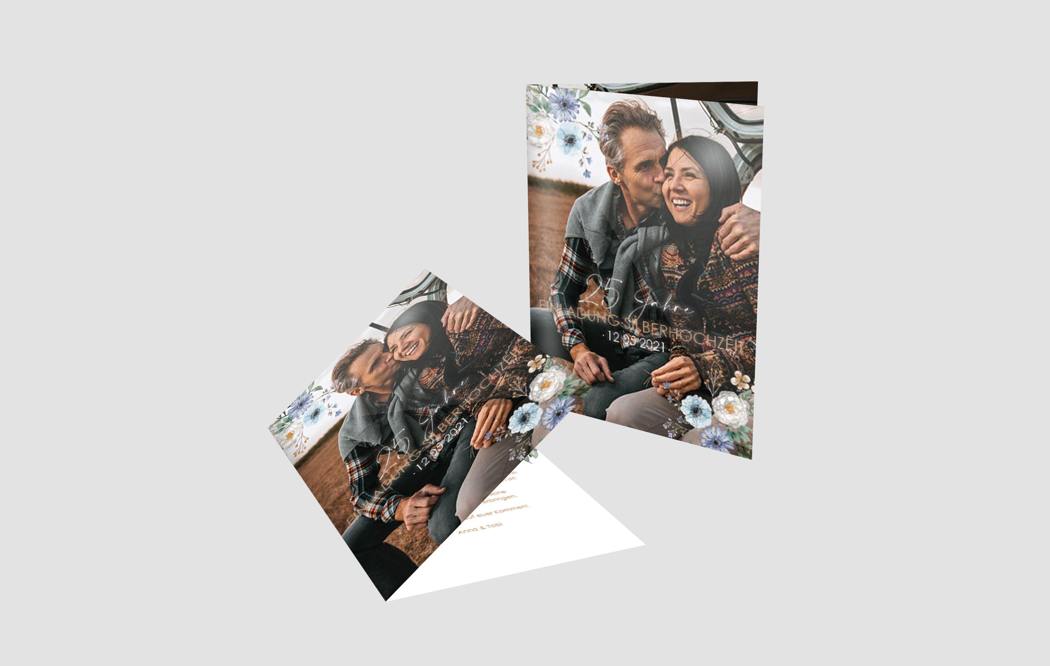 Einladungskarte Silberhochzeit Romance
