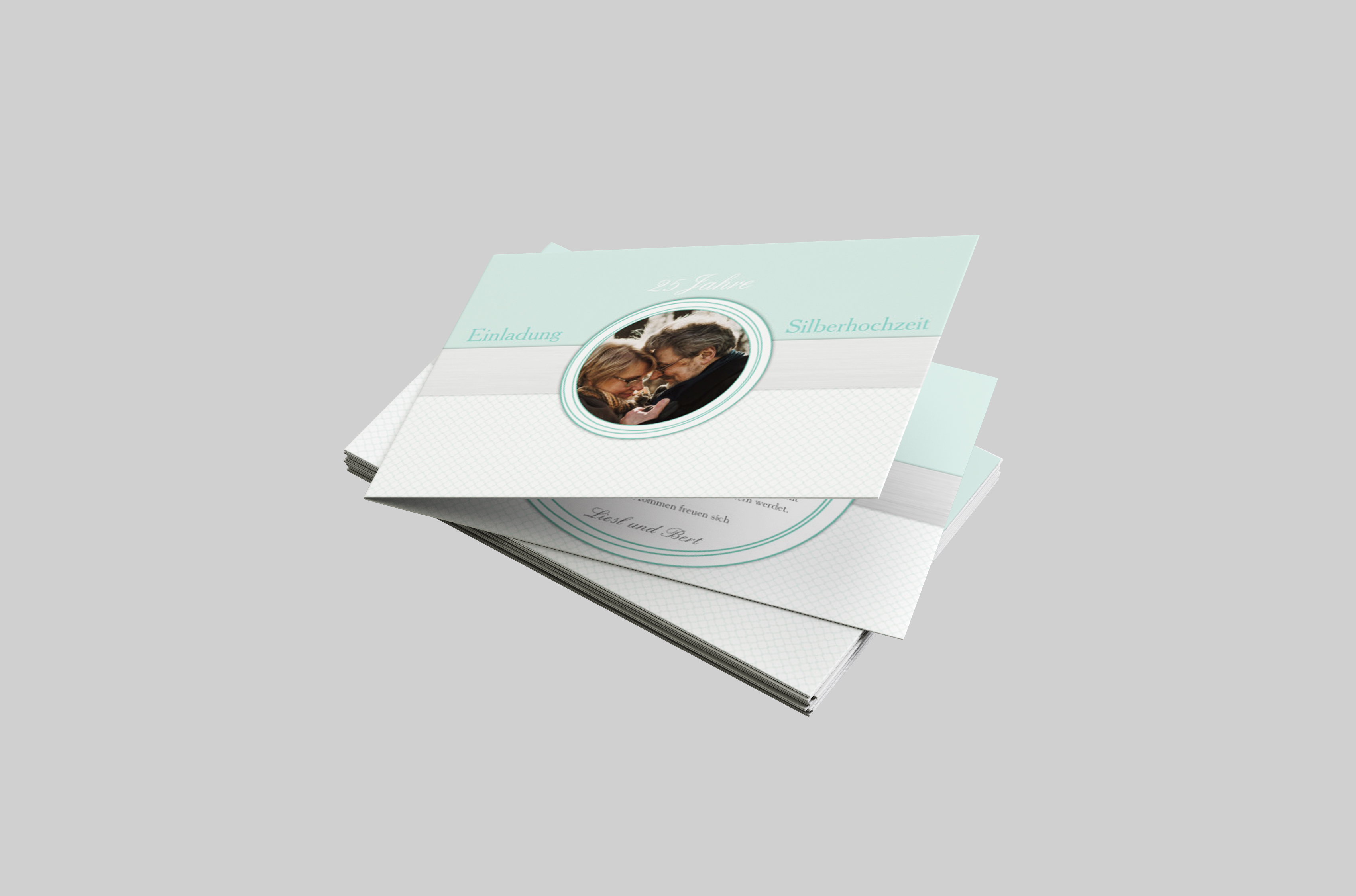 Einladungskarte Silberhochzeit Dezentes Farbtrio
