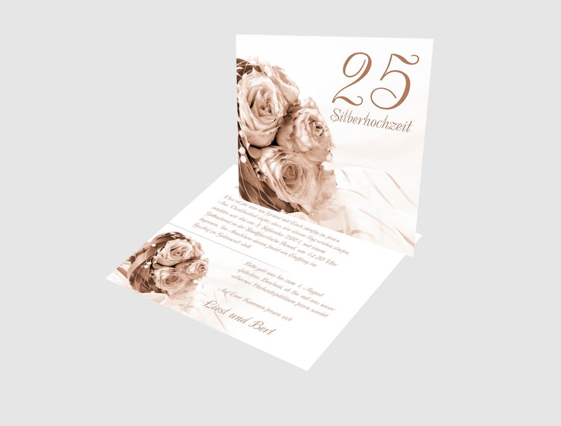 Einladungskarte Silberhochzeit Hochzeitsstrauss